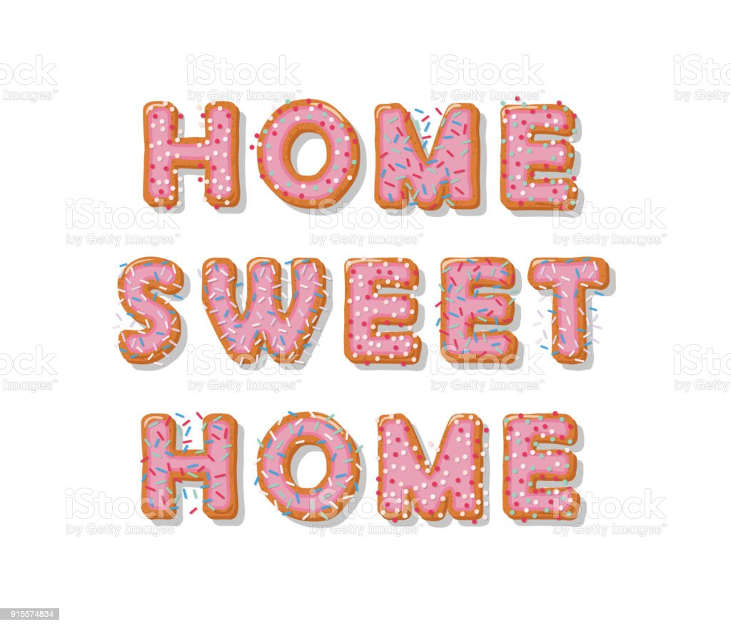 Home Sweet Home Biscuit Cartoon Hand Drawn Letters Cute Design In ...