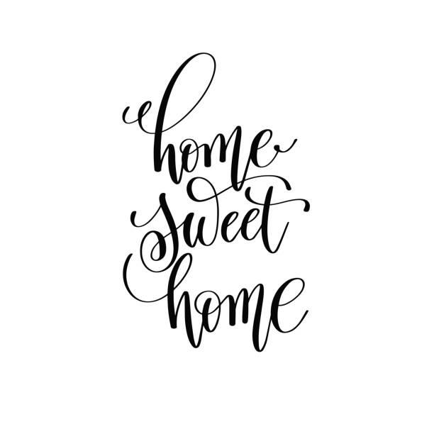 fd3d5c2c9038 home sweet home black and white handwritten lettering vector art  illustration