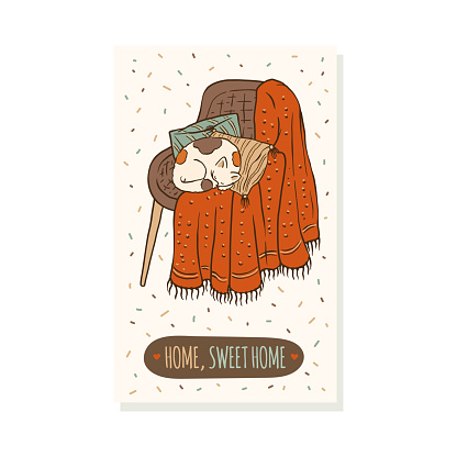 Home sweet home - cozy winter card with cat sleeping on chair
