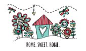 Home Sweet Home Hand Drawn Vector Illustration