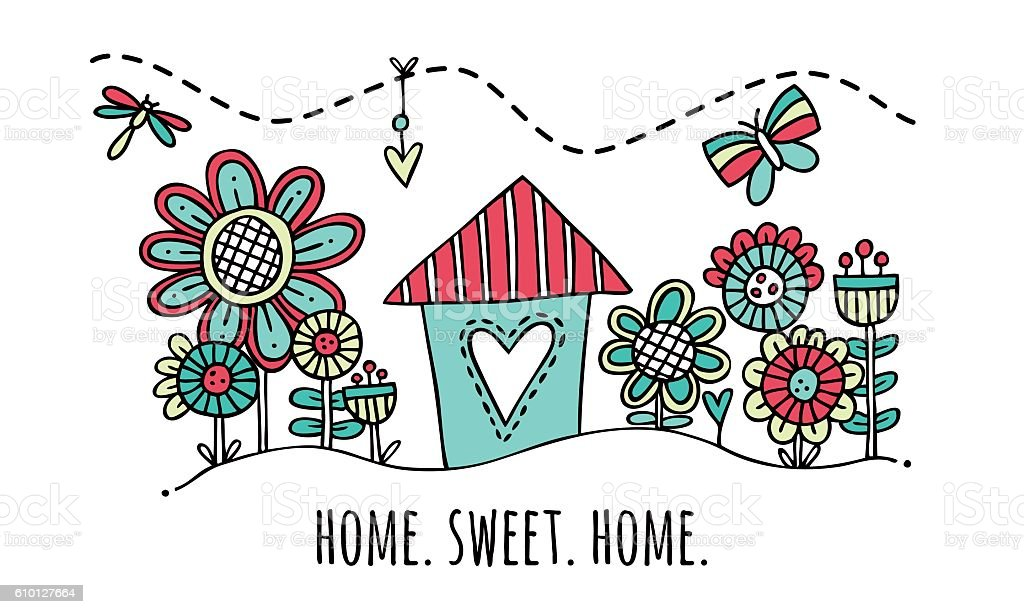 Home Sweet Home Hand Drawn Vector Illustration vector art illustration