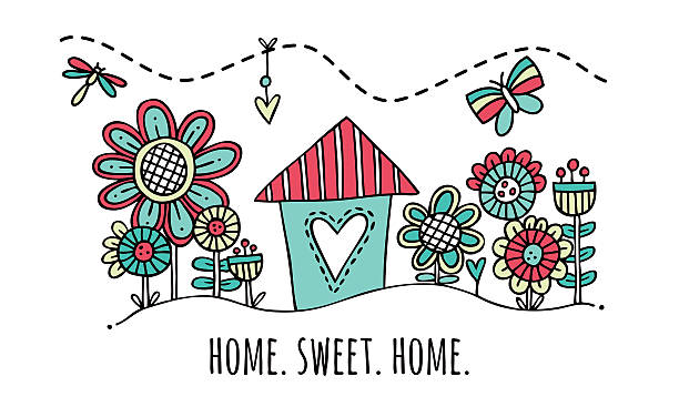 home sweet home hand drawn vector illustration - new home stock illustrations, clip art, cartoons, & icons