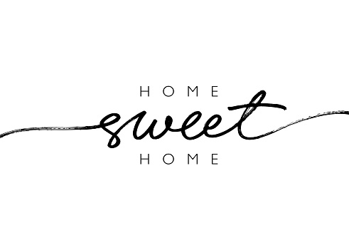 Home sweet home ink brush vector lettering. Modern slogan handwritten vector calligraphy.