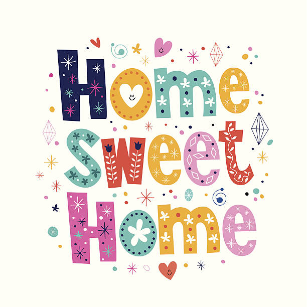 design concept vector art illustration home sweet home typography lettering decorative text vector art illustration - Graphic Design From Home