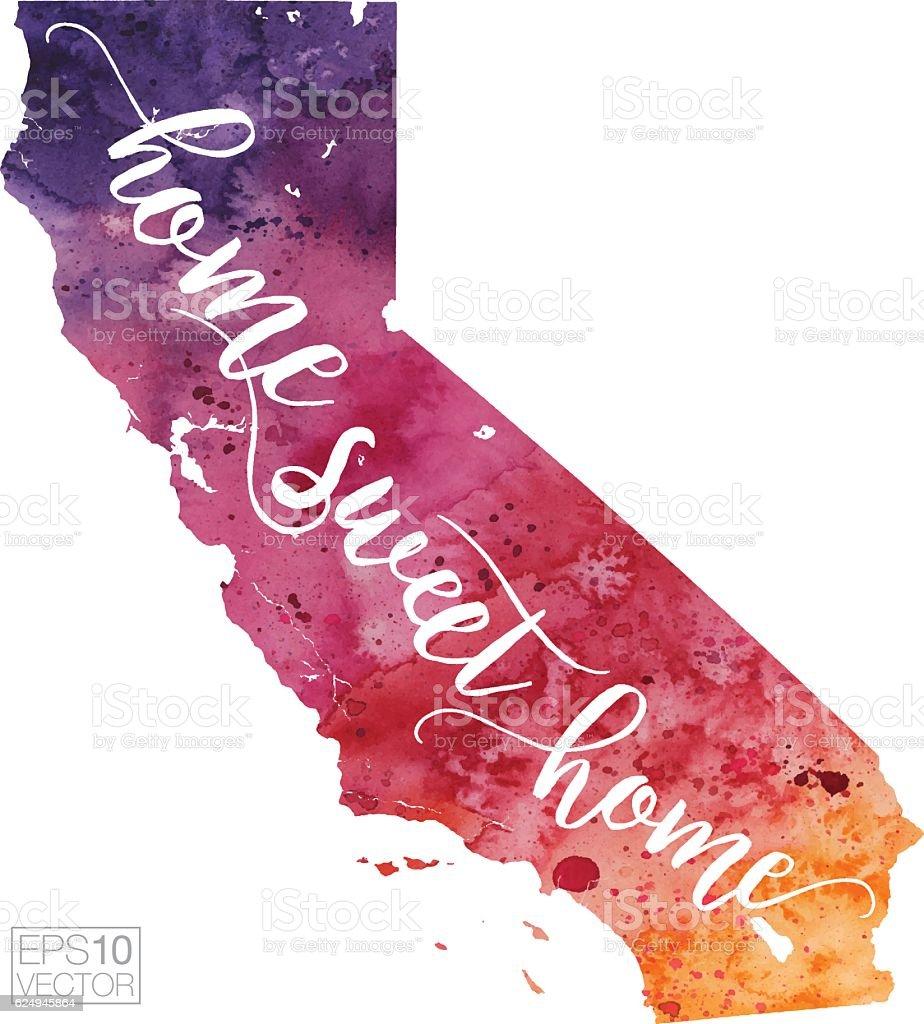 Home Sweet Home Vector Watercolor Map Of California Stock Vector Art