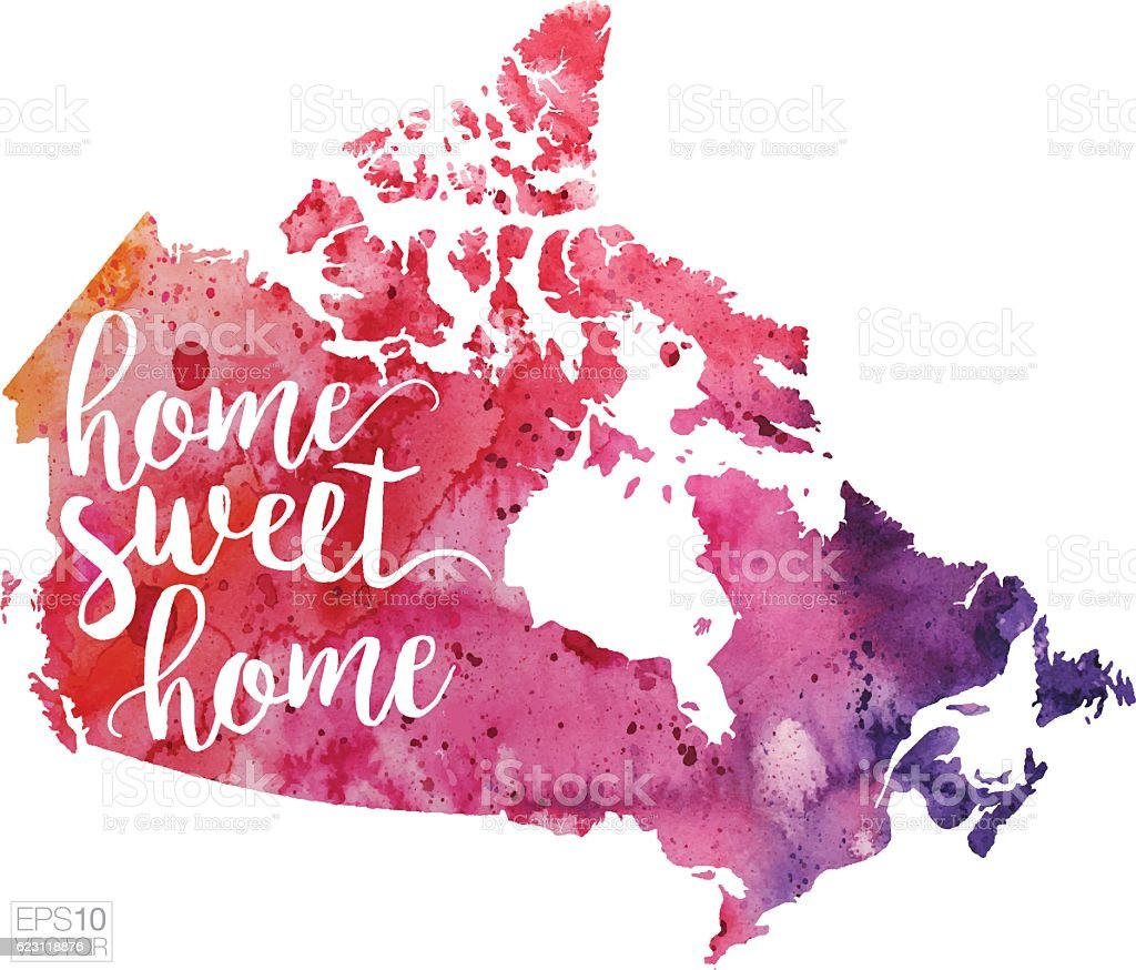 Home Sweet Home Vector Watercolor Map Of Canada stock vector art