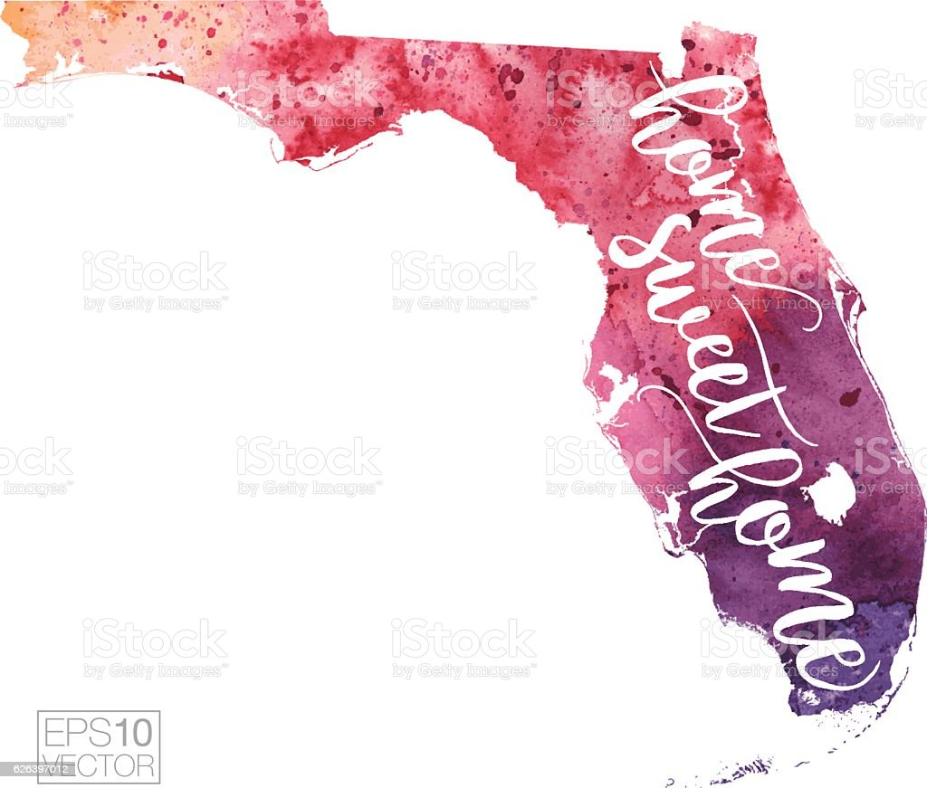 Home Sweet Home Vector Watercolor Map Of Florida Stock Vector Art - Florida keys us map