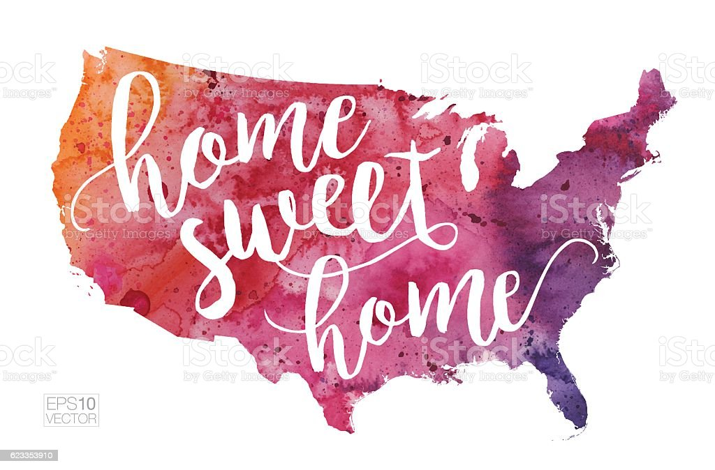 Home Sweet Home Vector Watercolor Map Of The United States Stock - Watercolor us map