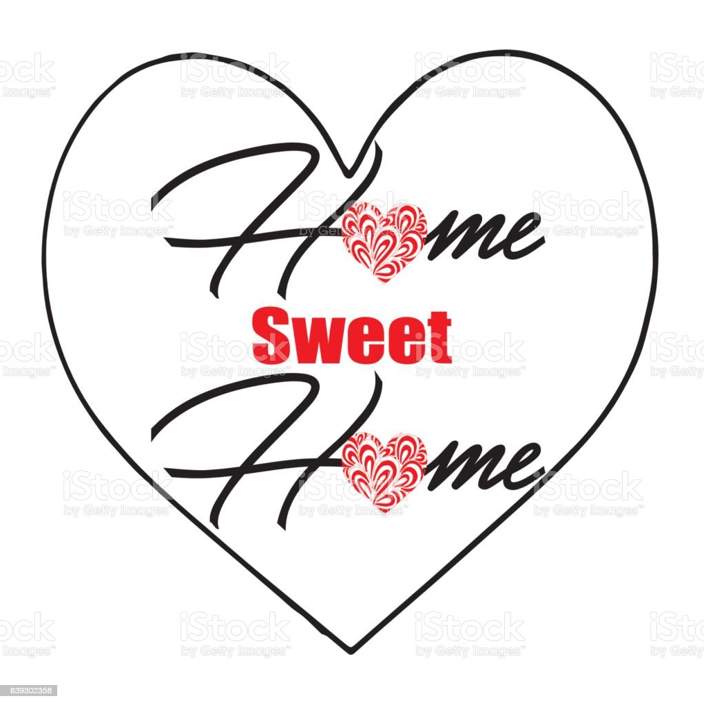 Home Sweet Home With Heart Icon Illustration Heart Shape Symbol