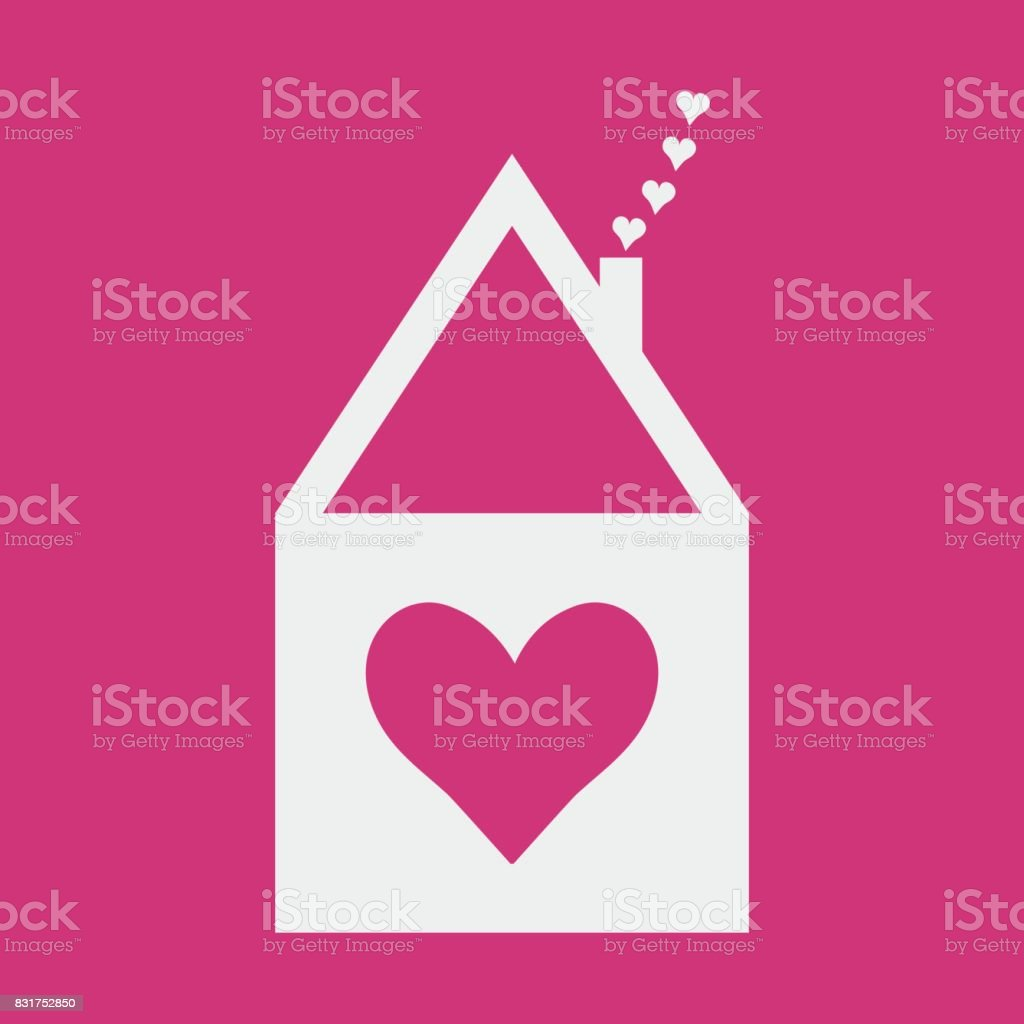 Home Sweet Icon Or Romantic Vector Label For Soulmates House Symbol