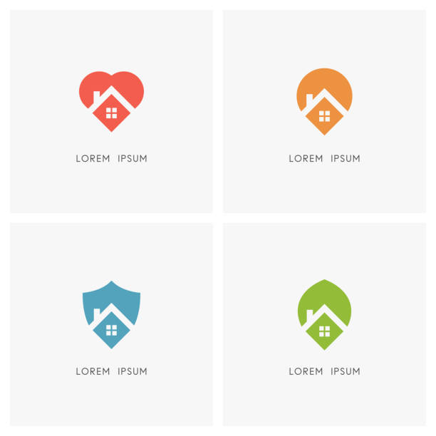 illustrations, cliparts, dessins animés et icônes de jeu de symboles maison - habitation