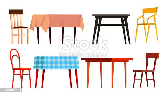 istock Home Table Chair Icon Set Vector. Wooden Dinner Furniture. Isolated Flat Cartoon Illustration 1136807421
