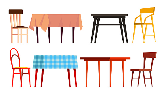 Home Table Chair Icon Set Vector. Wooden Dinner Furniture. Isolated Flat Cartoon Illustration