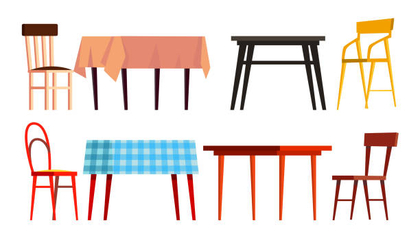 Home Table Chair Icon Set Vector. Wooden Dinner Furniture. Isolated Flat Cartoon Illustration vector art illustration