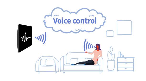 heimischen fernseher gesteuert durch frau sitzt auf der couch smart tv tech erkennt befehle stimme kontrolle konzept modernen wohnzimmer interieur skizze flow-stil horizontale - funktionssofa stock-grafiken, -clipart, -cartoons und -symbole