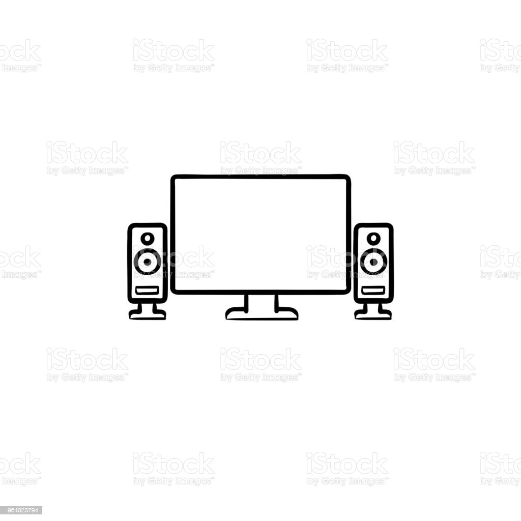 テレビ ホームシアター手描き下ろしアウトライン落書きアイコン - アンプのロイヤリティフリーベクトルアート