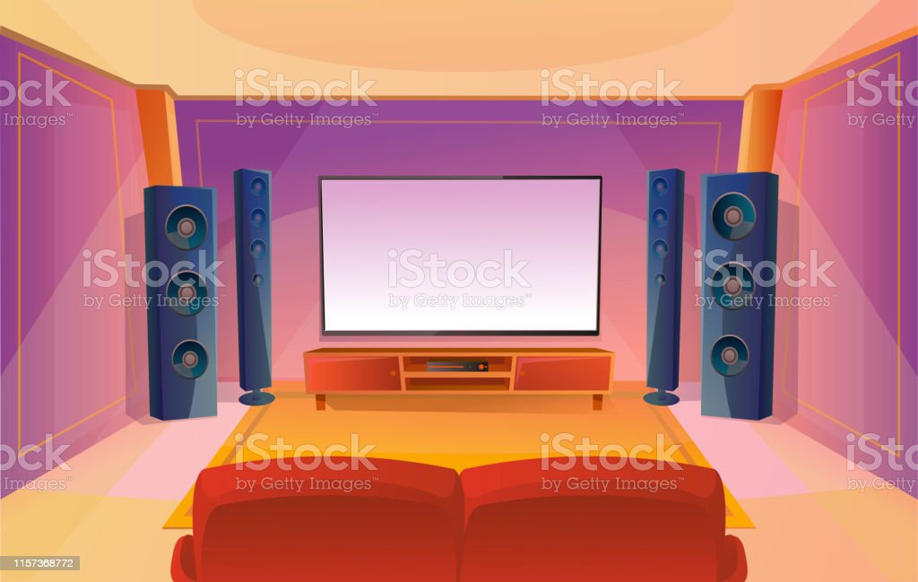 Home Theater In Cartoon Style With Big Tv Room With Red Sofa Modern Interior Acoustic Stereo Sound Stock Illustration Download Image Now Istock