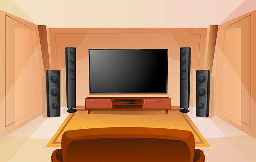 Home Theater In Cartoon Style With Big Tv Room With Sofa Modern Interior Acoustic Stereo Sound Stock Illustration Download Image Now Istock