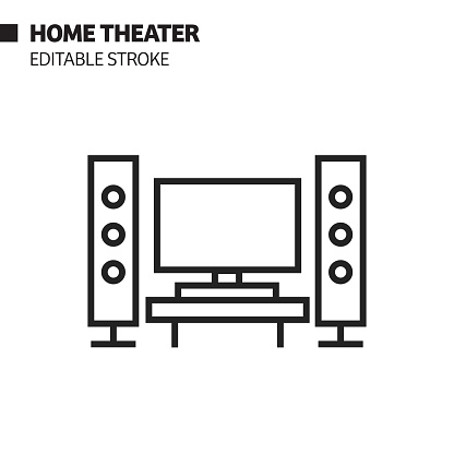 Home Theater Line Icon, Outline Vector Symbol Illustration. Pixel Perfect, Editable Stroke.