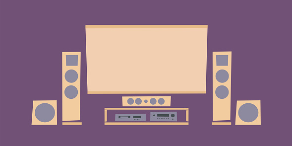 Home theater system. Entertainment сenter. Color vector illustration.