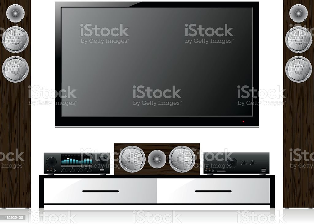 Home Theater System with Widescreen LCD TV vector art illustration
