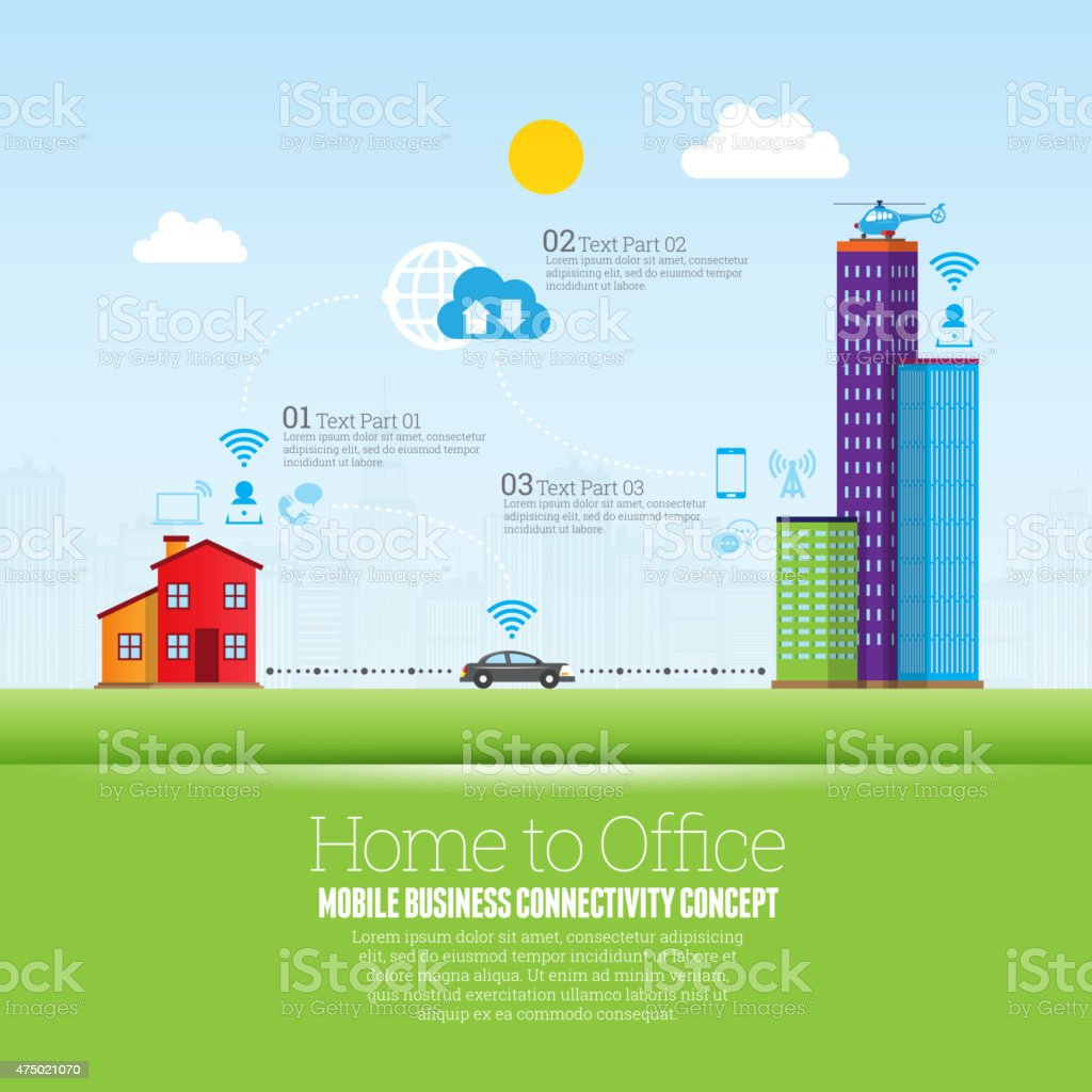 Home to Office vector art illustration