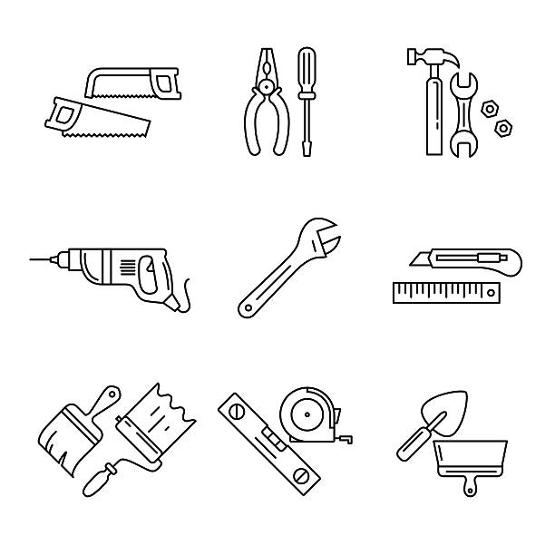 Home tools and hardware set Home tools and hardware set. Thin line art icons. Linear style illustrations isolated on white. utility knife stock illustrations