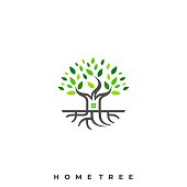 Home Tree Illustration Vector Template. Suitable for Creative Industry, Multimedia, entertainment, Educations, Shop, and any related business.