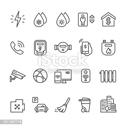 20 Outline style black and white Home utilities icons / Set #48 Pixel Perfect Principle - all the icons are designed in 64x64px grid, outline stroke 2px.  CONTENT BY ROWS  First row of icons contains: Electricity, Cold water supply, Hot water supply, Elevator, Cost of utilities;  Second row contains: Telephone, Electricity meter, Water meter flow, Phone Payment, Domestic Gas Meter;  Third row contains: Internet provider, Video surveillance, Cable HD TV, Intercom, Radiator;   Fourth row contains: Area icon, Parking, Сleaning service, Wheeled trash can, Residential Complex.  Complete Unico PRO collection - https://www.istockphoto.com/collaboration/boards/dB-NuEl7GUGbQYmVq9IlDg