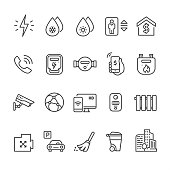 Home utilities - outline vector icons
