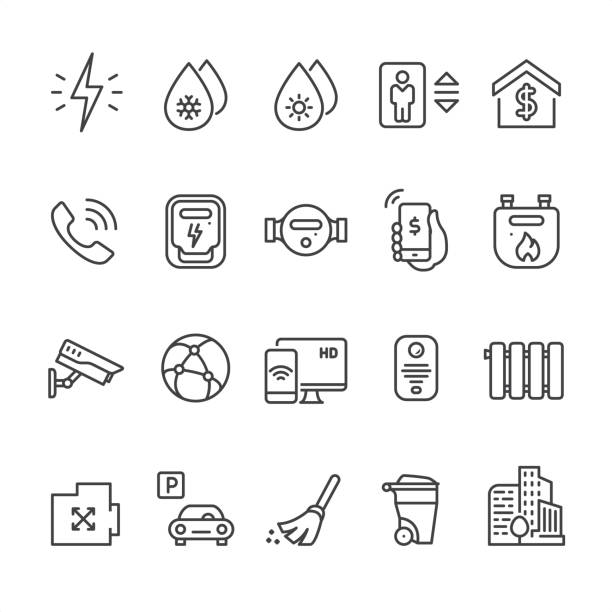 Home utilities - outline vector icons 20 Outline style black and white Home utilities icons / Set #48 Pixel Perfect Principle - all the icons are designed in 64x64px grid, outline stroke 2px.  CONTENT BY ROWS  First row of icons contains: Electricity, Cold water supply, Hot water supply, Elevator, Cost of utilities;  Second row contains: Telephone, Electricity meter, Water meter flow, Phone Payment, Domestic Gas Meter;  Third row contains: Internet provider, Video surveillance, Cable HD TV, Intercom, Radiator;   Fourth row contains: Area icon, Parking, Сleaning service, Wheeled trash can, Residential Complex.  Complete Unico PRO collection - https://www.istockphoto.com/collaboration/boards/dB-NuEl7GUGbQYmVq9IlDg cable tv stock illustrations