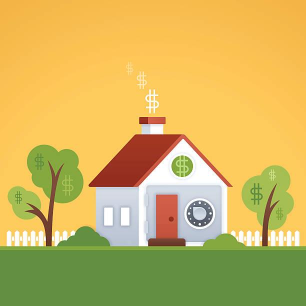ilustraciones, imágenes clip art, dibujos animados e iconos de stock de valor de créditos hipotecarios de su hogar o de su - hipotecas y préstamos