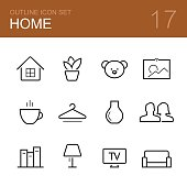 Home vector outline icon set