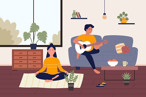 Home weekend flat vector illustration, cartoon happy young couple people spend weekend time at home together, doing yoga meditating, playing music on guitar background