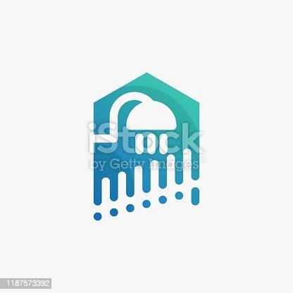 istock Home Wiht Shower Concept Design Illustration Vector Template 1187573392