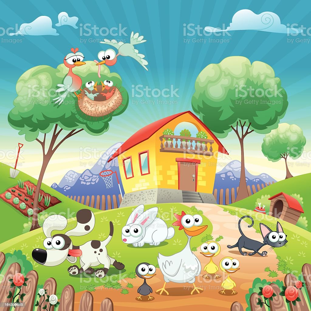 Home with Animals. royalty-free stock vector art