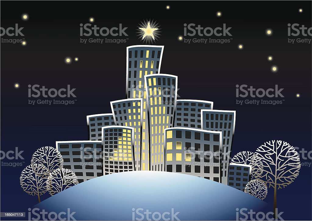Home with Christmas royalty-free stock vector art