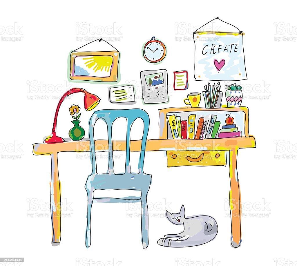 Casa de trabajo de dise ador de interiores boceto - Disenador de interiores trabajo ...