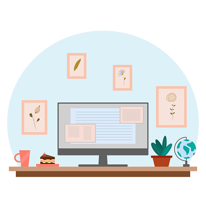 Home workplace. Home office and working from home concept. Interior for freelancer, with computer, table, cup and piece of cake, and plant pot.