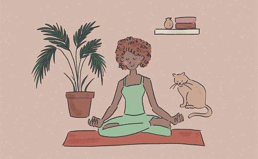 Home yoga vector illustration