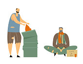 Homeless Adult People Begging Money and Need Help, Male Characters Living on Street, Man in Dirty and Ragged Clothes Lost Work, Bagger Warming at Fire in Metal Barrel, Cartoon Flat Vector Illustration