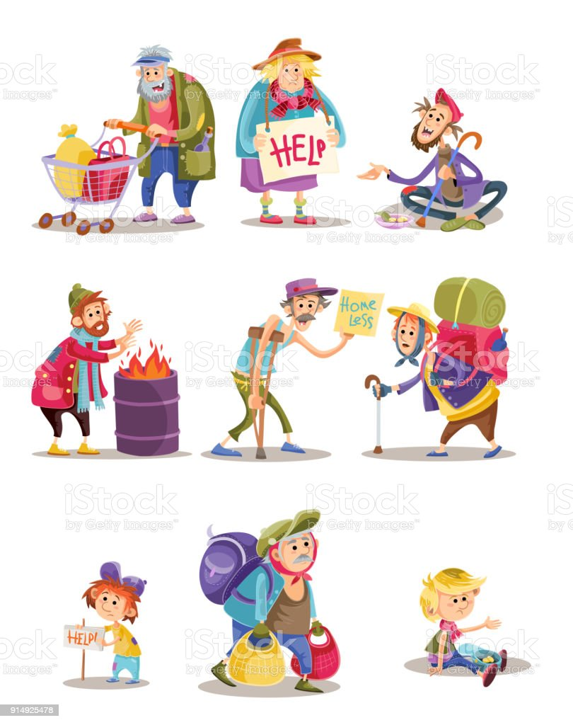 Homeless and beggars people vector cartoon illustration of woman, man and child begging for money and food vector art illustration