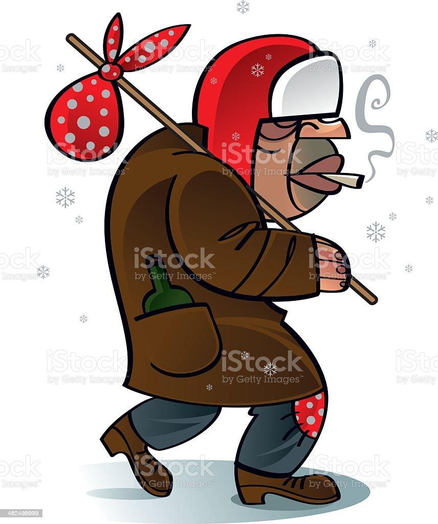 Homeless beggar Santa Claus vector art illustration