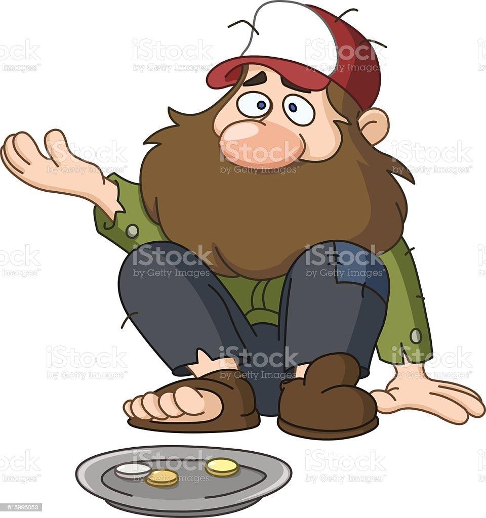 Homeless beggar vector art illustration