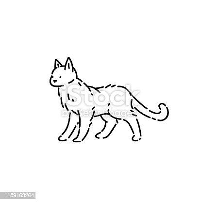 Homeless cat pet line art style character vector black white sketch isolated illustration