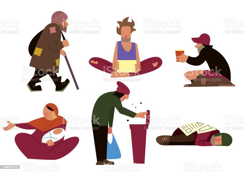 Homeless character set vector art illustration