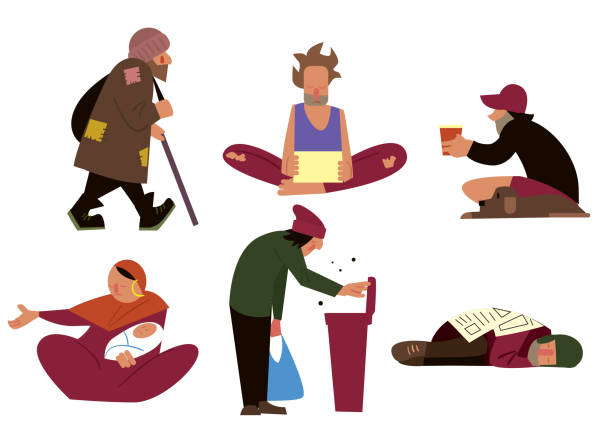 bildbanksillustrationer, clip art samt tecknat material och ikoner med hemlösa teckenuppsättning - bum