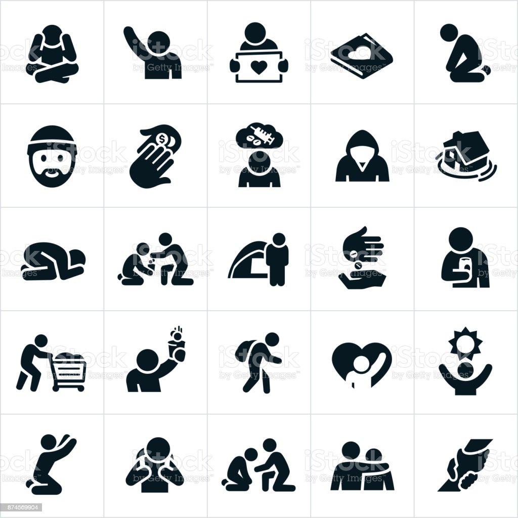 Homeless Icons vector art illustration