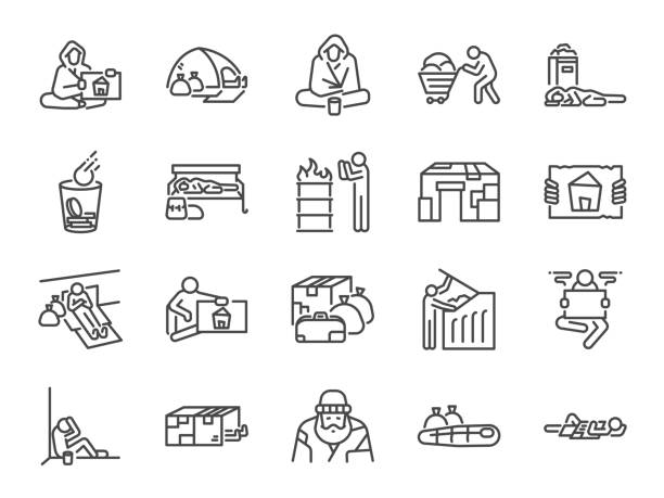 Homeless line icon set. Included icons as poor, empty, homelessness, living on the streets, trash, abandon and more. Homeless line icon set. Included icons as poor, empty, homelessness, living on the streets, trash, abandon and more. homelessness stock illustrations