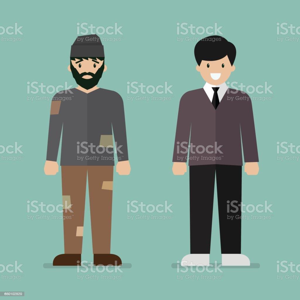 Homeless man and rich man character vector art illustration